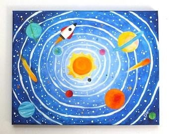 CUSTOM Solar System 20x16 inch on gallery wrapped canvas