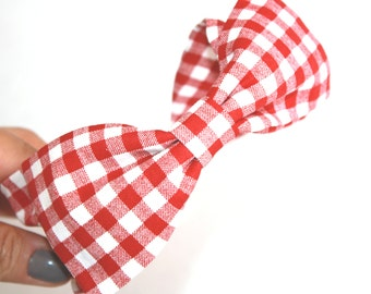 Why Does The Sun Go On Shining Retro Bow Head Band, Red and White Gingham