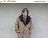 CLEARANCE SALE Vintage Jacket Over Coat Mens Wool Plaid Brown Rust Winter Warm Wool Faux Fake Fur Collar Hipster Fashion