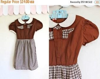40% OFF back2school SALE vintage 1950s girl's dress - BROWNIE Bites gingham dress / 6yr