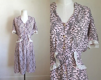 vintage 1930s novelty print dress - MELTING HEARTS peplum dress / M