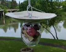 Decorative bird feeder, glass bird feeder red roses decorative plate birdfeeder