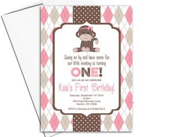 Sock monkey birthday invitations girl | pink and brown 1st birthday invitation | monkey birthday invitation printable or printed - WLP00367