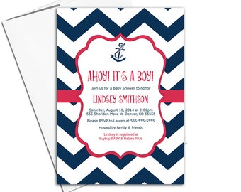 Nautical baby shower invitations boy   navy and red chevron with anchor   ahoy it's a boy nautical invite   printable or printed - WLP00793