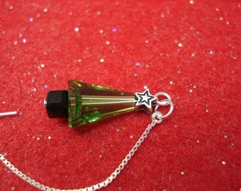 Crystal Christmas Trees on Sterling Ear Threads -Threader Earrings/Necklace-FREE SHIPPING To U.S.