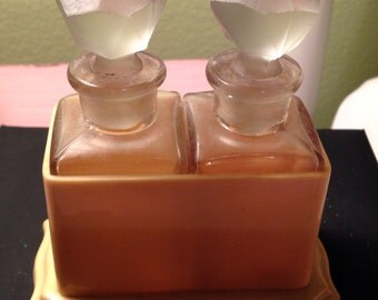 Bakelite double perfume bottle with stoppers beautiful vintage dressing table collectible