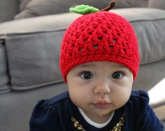 Hand Crochet Red Apple Hat with Leave and Stem Beanie Infant Baby Newborn Unique Baby Shower Gift and Fall Harvest Photo Prop