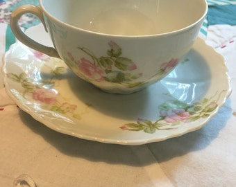 Vintage 2 Piece Tea Cup Set Pink and Blue Roses O and EG Royal China Made in Austria #3986