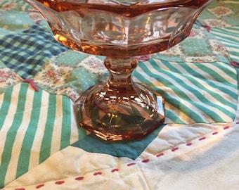 Vintage Pink Glass Pedestal Bowl Compote Candy Dish #3720