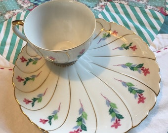 Vintage Pink and Blue Floral Snack Plate Set Made in Japan #3742