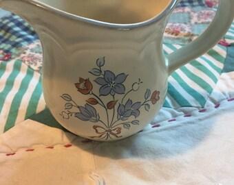 Vintage Creamer Cordella Collection Stoneware Blue Floral Made in Japan #3787