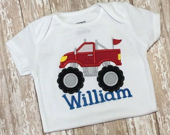 Monster Truck Shirt Applique Embroidery