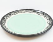 Porcelain Plate with Hand Painted Lace Pattern and Mint Green