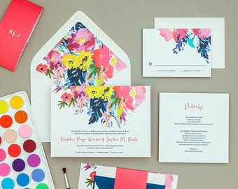 Modern Bright Floral Wedding Invitation Template,Bold Floral Wedding Invitation Digital Download,Floral Wedding Printable Invitation Set