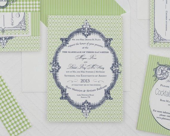 Baroque Wedding Invitations: French Baroque Wedding Invitation TemplateModern Invitation