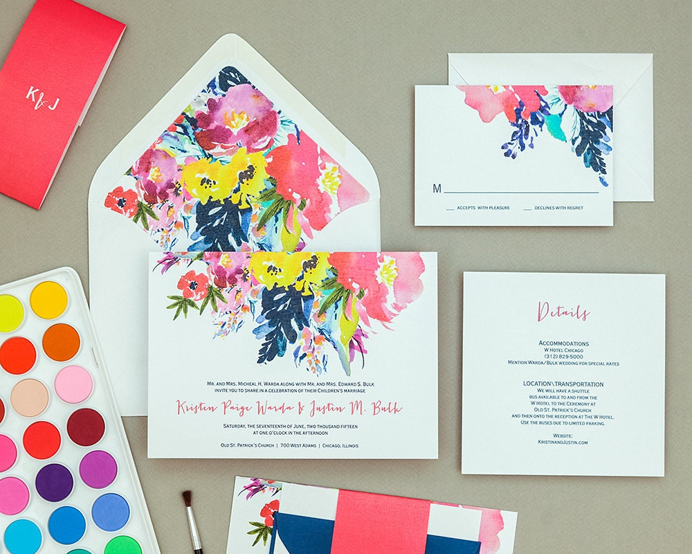 modern bright floral wedding invitation templatebold floral