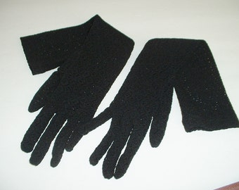 Vintage 1940 Long Black Lace Gloves Ladies One Size Fits All Pristine Never Worn 100% Nylon