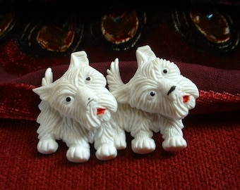 Vintage Double Scottie Dog Articulated Pin Brooch Swivel Heads Two White Scottie Dogs Early Plastic Hand Painted