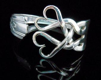 Silver Fork Bracelet in Original Weaving Hearts Design