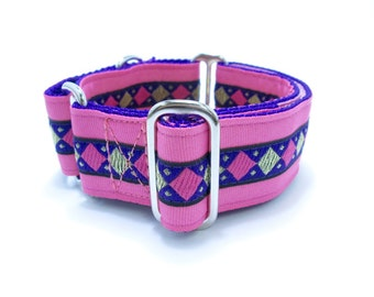 """Houndstown 1.5"""" Pink Harlequin Martingale or Buckle Collar Size Small through X-Large"""