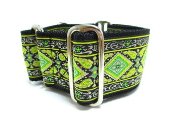 """Houndstown 2"""" Lime Diamonds Diamonds Unlined Martingale Collar Size Small, Medium, or Large"""