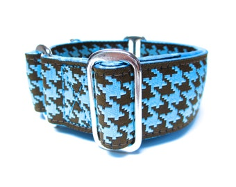 """Houndstown 1.5"""" Teal Houndstooth Buckle or Martingale Collar, Any Size"""