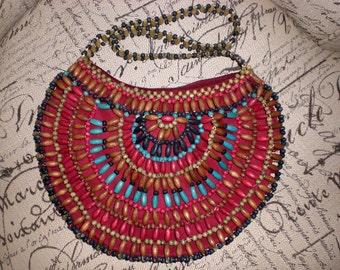 SALE Boho,Wood bead bag
