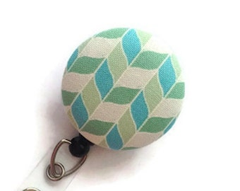 ID Badge Reel Aqua/Mint Chevron Name Badge Holder