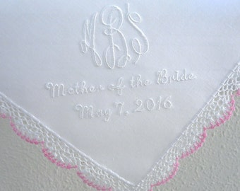 White with Pink Crochet Lace  Handkerchief with 3-Initial Monogram and Date
