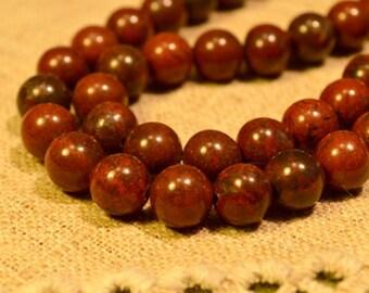 40pcs 10mm Natural Gemstone Beads Brecciated Jasper 16 inches