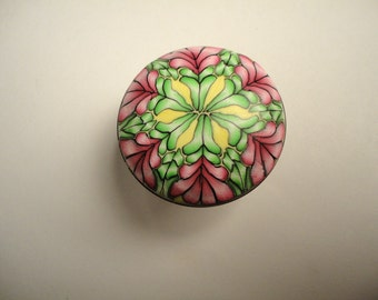 Cabinet Knobs Pulls  6 handmade polymer clay decorative knobs  unique dresser knobs furniture knobs green yellow pink