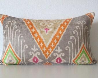 IMAN Ikat Diamond Nectar velvet bright orange pink green designer pillow cover