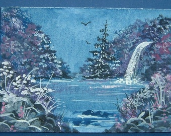 aceo art painting miniature waterfall lake ( ref 355)
