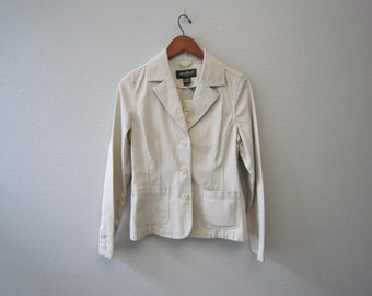 Vintage Womens Khaki blazer with tags on by Eddie Bauer