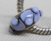 SRA Handmade Lampwork Bead Silver Cored Bead Black with Light Blue Design and Raised Dots