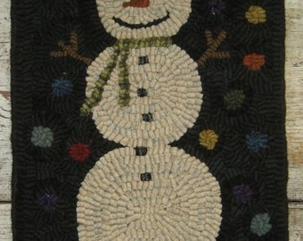 Folk Art Primitive Hand Hooked Happy Snowman Rug