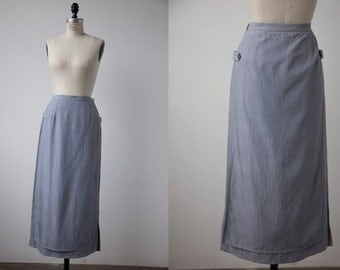 Vintage SILK Pale Blue Gray Long Midi Skirt with Front and Back Panels and Tabs Across Sides S-M