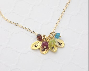 Personalized Initial Leaf Birthstones, Mother Necklace, Leaf Pendant Necklace, Genuine Birthstones, Gift for Her, Gift for Mom