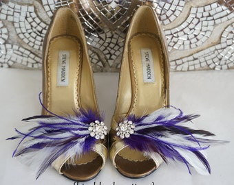 White Purple Feather Rhinestone Shoe Clips Romantic Vintage Inspired Bridal Bride Bridesmaids Wedding MARY LOU Shoe Accessory Customizable