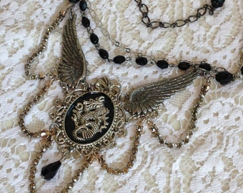 Winged Dragon Collage Necklace in Black Silver and Gunmetal