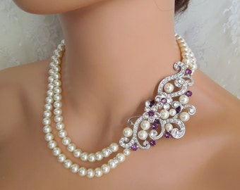 Pearl Necklace with brooch crystal Bridal Purple Necklace Wedding Pearl Necklace Statement Bridal Necklace Rhinestone Necklace Pearl KENDRA