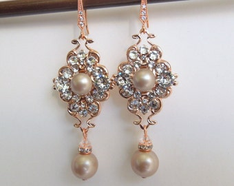 Champagne Pearl Earrings Bridal Earrings Swarovski Pearls Pearl Rhinestone Earrings wedding Earrings rose gold Rhinestone Earrings CLAUDE