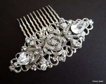 Bridal Rhinestone Hair Comb Wedding Rhinestone Hair Comb Rose Rhinestone Hair Comb Swarovski Crystal vintage style Hair Comb ROSELANI