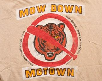 1984 World Series Mow Down Motown T-Shirt, San Diego Padres, Vintage 80s