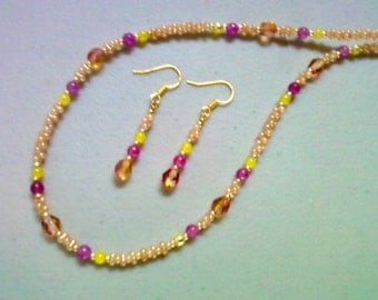 Raspberry, Peach and Lemon Necklace and Earrings (0270)