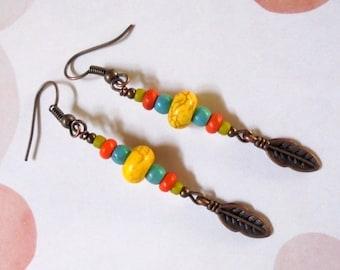 Multicolor Leaf Dangle Earrings (2594)