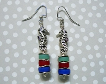 Teal, Red and Cornflower Blue Seahorse Earrings (2757)