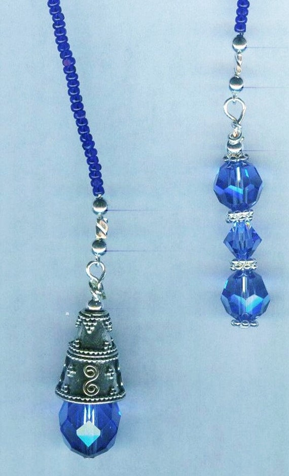 Swarovski Sapphire Faceted Crystal and Bali Silver Bead Bookmark GREAT gift!