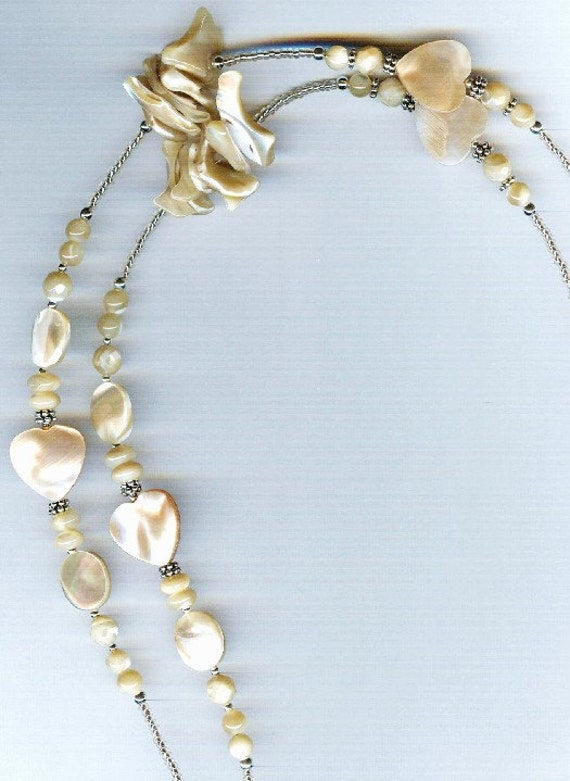 Natural Mother of Pearl Hearts & Ovals ID Badge Lanyard or Eyeglass Chain