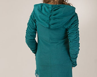 Ruffled Elven Cotton Towel Tunic - long sleeve pixie dress - Fantasy Top - women's clothing
